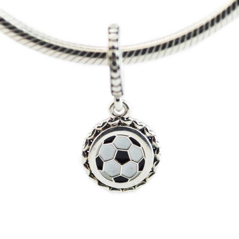 Cuentas colgantes de fútbol Plata de Ley 925 encanto de esmalte mezclado se adapta a pulseras de Pandora encantos de plata 925 perles de fabricación de joyas