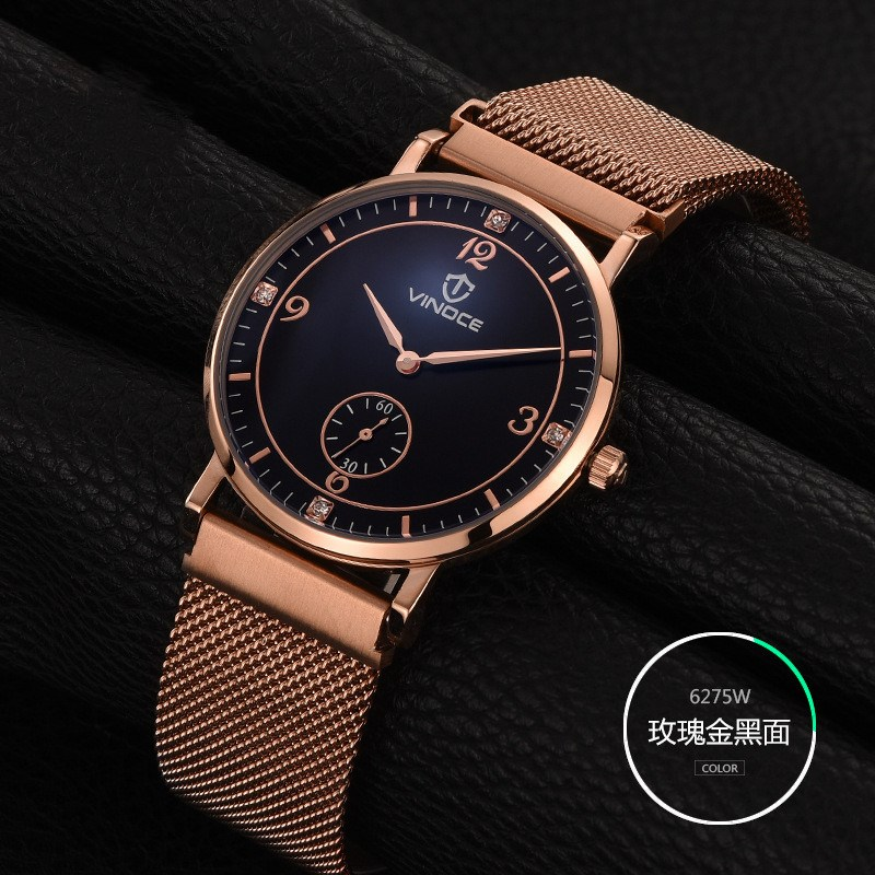 2017 New Arrival Independent Diamond Small Stopwatch Gold White Strap Sapphire Glass Slim clock font b