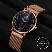 2017 New Arrival Independent Diamond Small Stopwatch Gold White Strap Sapphire Glass Slim clock Men's Watch Quartz Watch