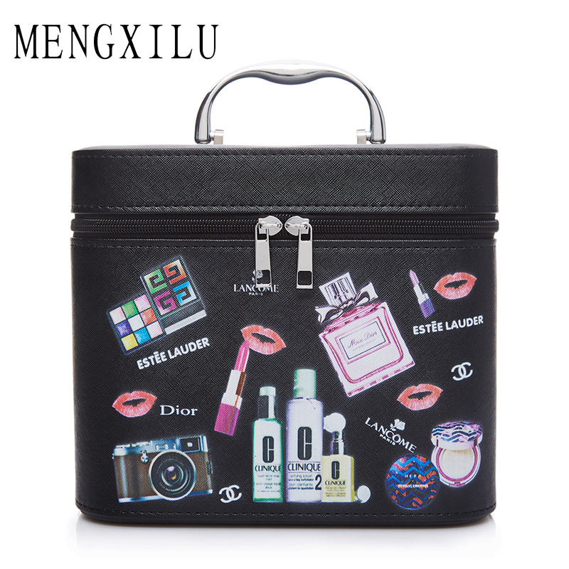 MENGXILU Fashion Cartoon Makeup Bag Cartoon Travel Storage bag Cute Women Makeup Bags Large Capacity Cosmetic Bags Organizer luxcel travel accessory fashion cosmetic case bag large capacity portable women makeup necessaire storage