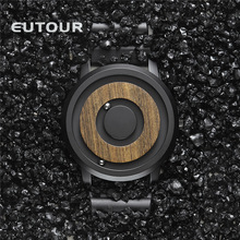 EUTOUR minimalist Novelty Wood Dial Scaleless Magnetic Watch Belt Natural Forest Fashion Mens Couple