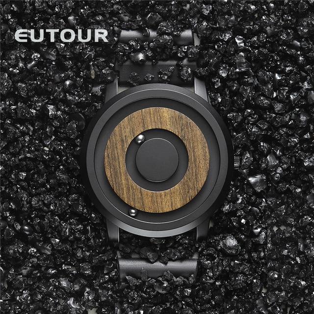 Мужские часы с деревянным циферблатом EUTOUR