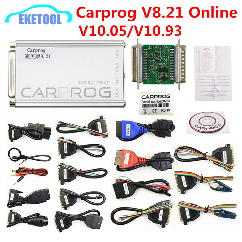 Auto ECU Chip Tuning V8 21 Online V10 93 CARPROG Full Universal Car Prog  Repair Tool Carprog 8 21 Main Unit/Full Package