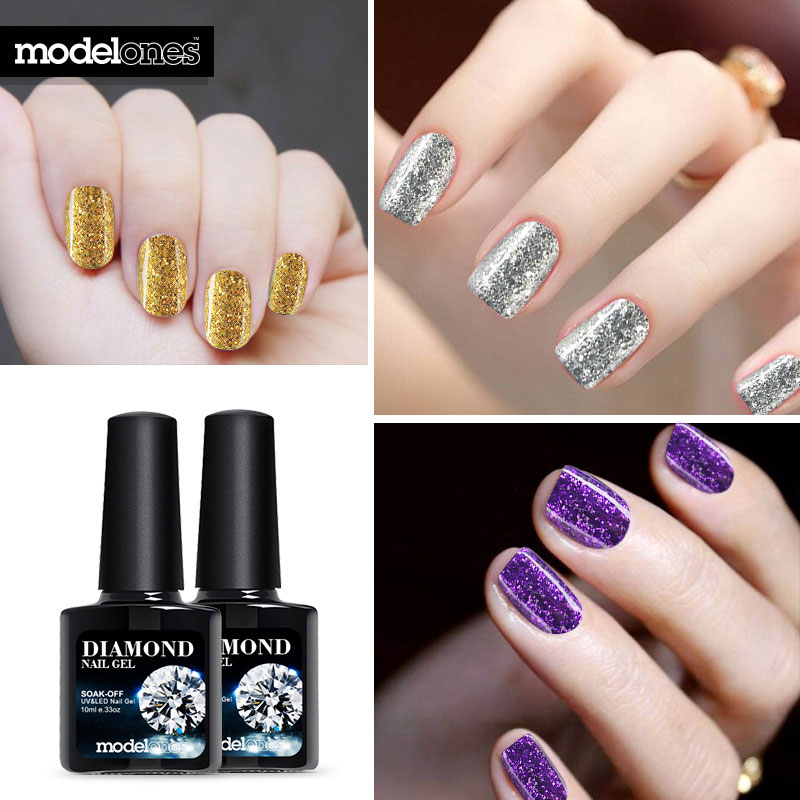 Modelones Hot Sale Diamond Nail Gel Blue Color Glitter UV Nail ...
