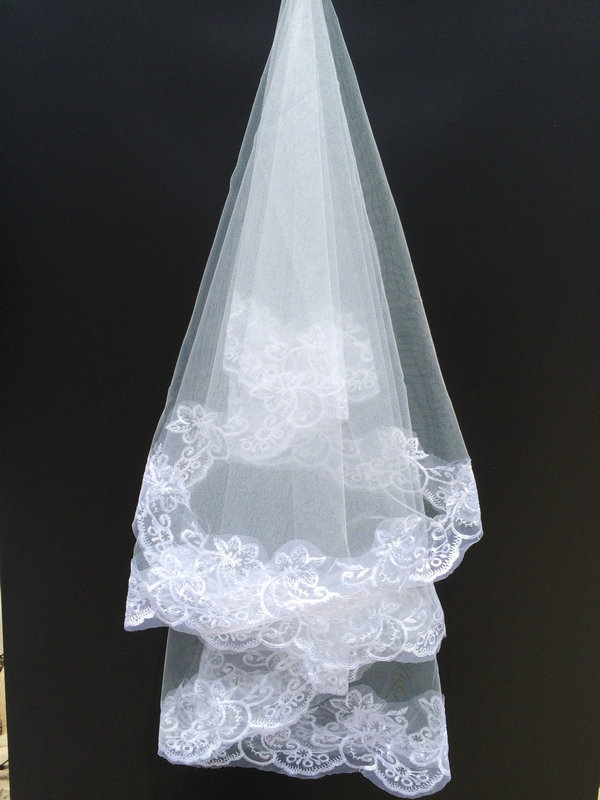 Voile Mariage White One-Layer Short Bridal Veils Lace Edge Bridal Bride Hot Sale Wedding Accessories Veil