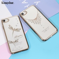 KINGXBAR Phone Case for Apple iPhone 7 8 , 7 8 Plus Cover Funda Authorized Swarovski Elements Clear PC Hard Back Cove Shells Bag