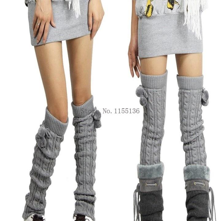 La moda de nueva SOLID Extra larga calentador de la pierna moda de ...