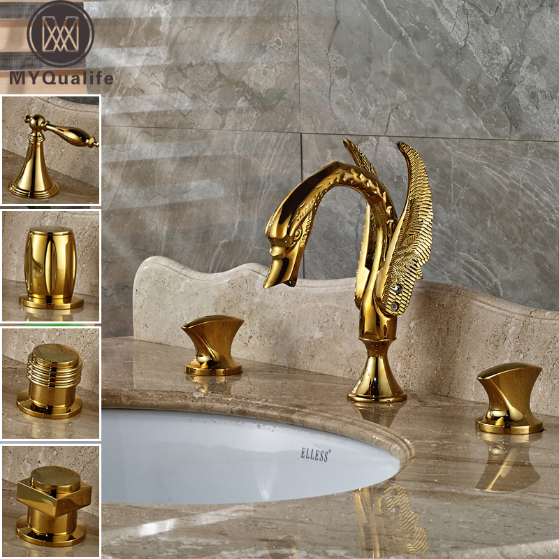 Golden Dual Handle Widespread Basin Faucet Deck Mounted 3 Holes Swan Bathroom Tub Sink Mixer Taps deck mounted golden brass swan basin faucet single handle countertop sink mixer