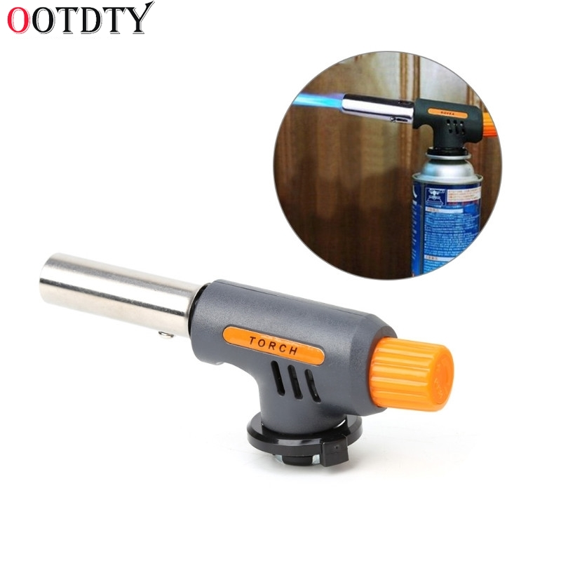 OOTDTY Portable Camping Welding Gas Torch Flame Gun Flamethrower Butane Burner Wind Proof