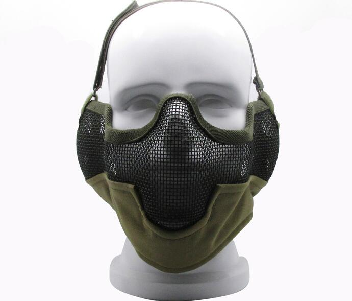 ᗛhigh Quality V2 Hard Metal Mesh Half Face Airsoft Protect With Ear