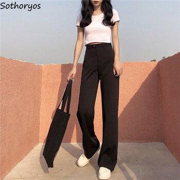 Pantalones de mujer sueltos de longitud completa con cremallera liso simple todo-fósforo ocio suave pantalón de mujer recto Retro estilo coreano elegante de las señoras