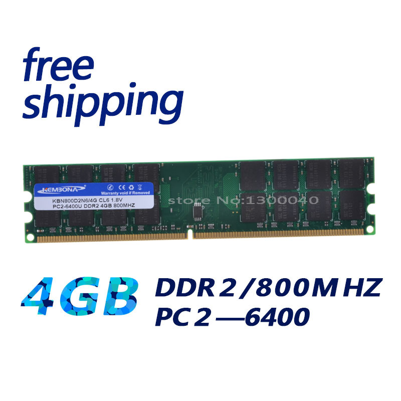 KEMBONA beste qualität pc desktop ddr2 4 gb 800 mhz pc6400 32 chips/16 chips hohe dichte nur arbeit für AMD motherboard