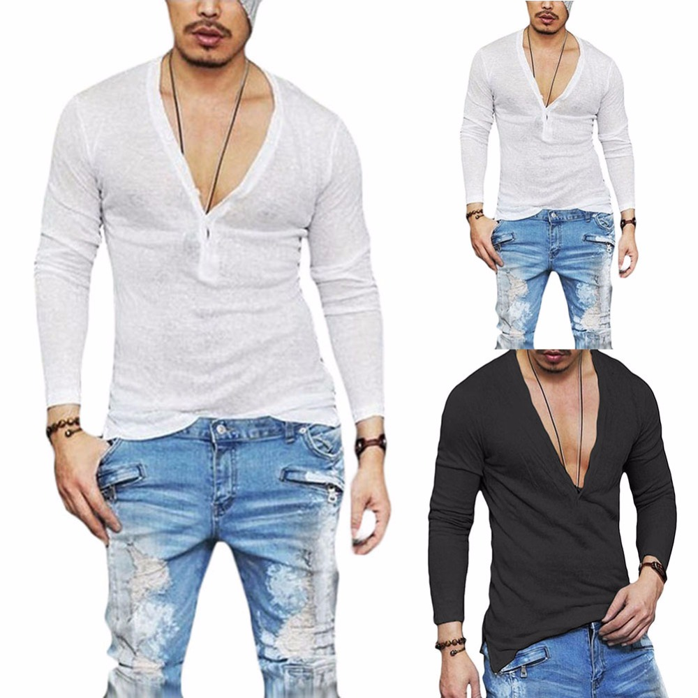 2018 New design Loose deep V neck men t shirt Casual men fashion t-shirt Slim Fit Skinny Tshirt Male Stylish Streetwear Tops Tee