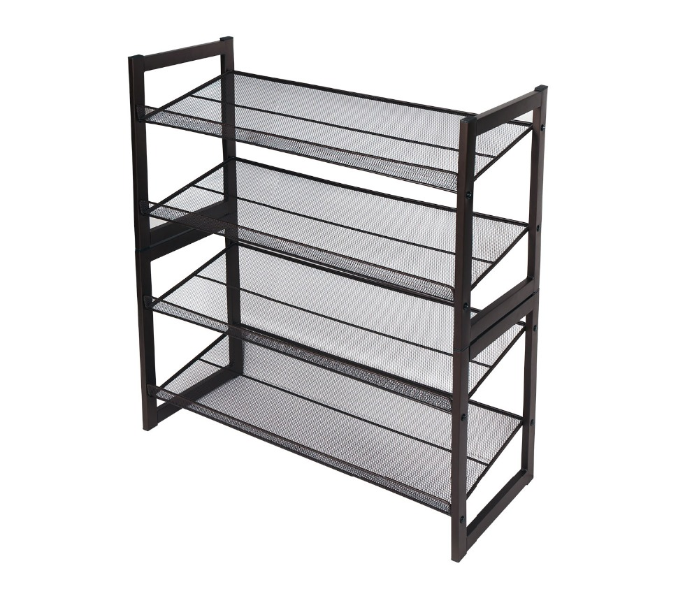 HLC Premium Stackable 4 tier Wire Shelving Metal Shoe Utility Rack ...