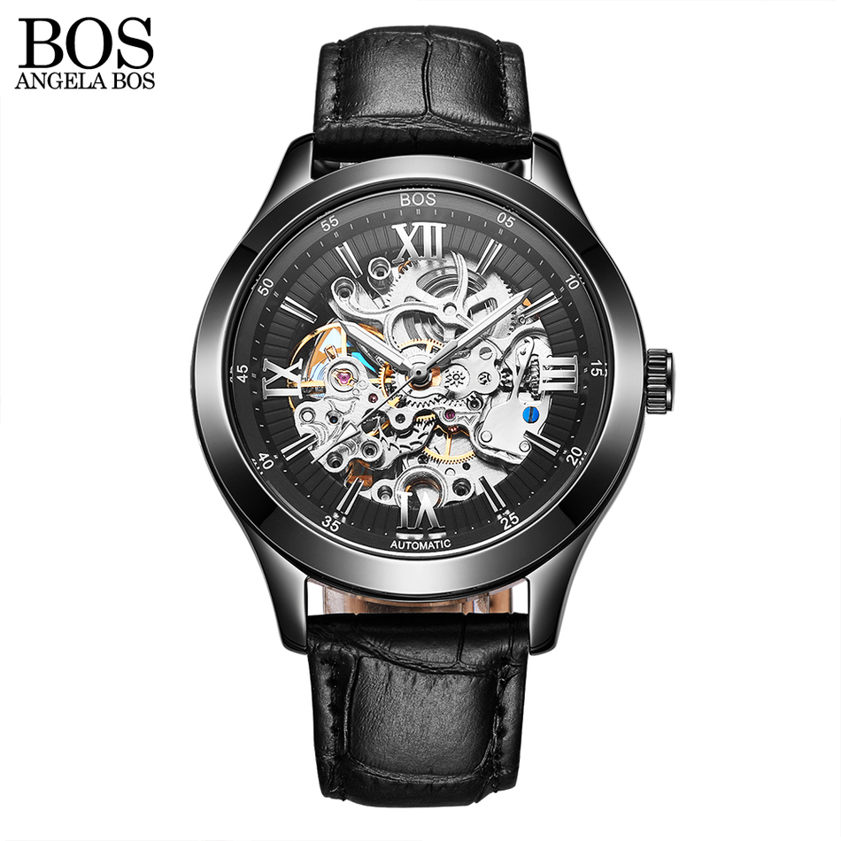 ANGELA BOS Luxury Skeleton Automatic Watch Mens Mechanical Black Stainless Steel Waterproof Watch Men Famous Brand Wristwatch ultra luxury 2 3 5 modes german motor watch winder white color wooden black pu leater inside automatic watch winder