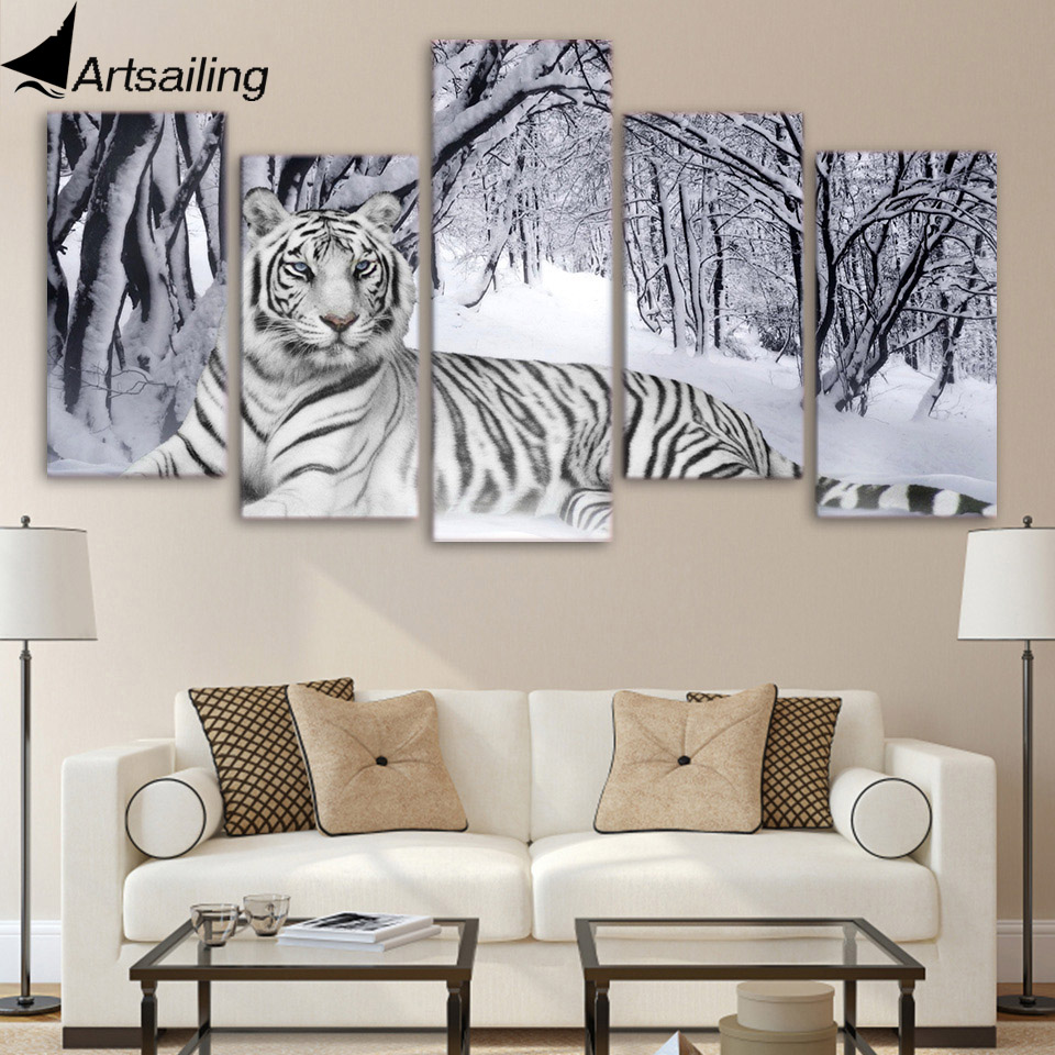 HD 5 Pieces Canvas Paintings Printed Tiger Snow Mountain Wall Art Canvas Modular Living Room Bedroom Home Decoration ny-4082