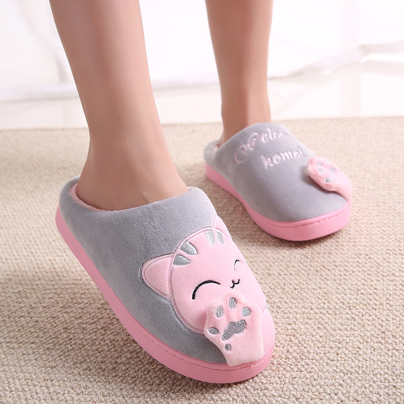 4f6d80762899b Winter Women Slippers Plush Home Cute Cat Slippers Ladies Warm Indoor Shoes  House Lovely Couple Woman Man Animal Footwear-in Slippers from Shoes on ...