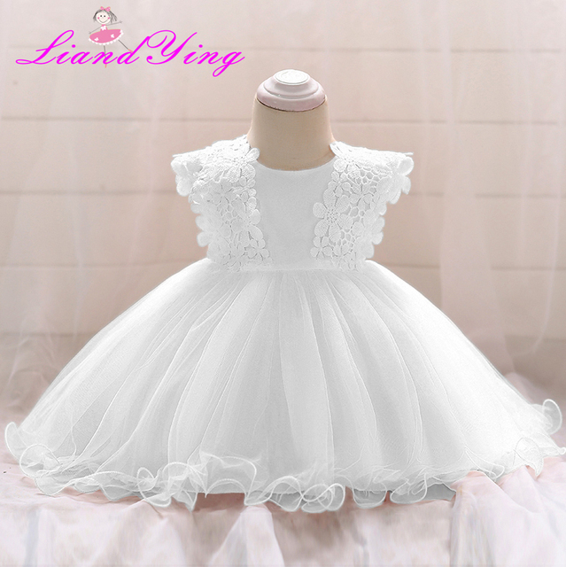 ebc9b847b01c0 US $13.99 30% OFF|New Fashion Formal Newborn Wedding Dress Baby Girl Bow  Pattern For Toddler 1 Years Birthday Party Baptism Dress Clothes-in Dresses  ...
