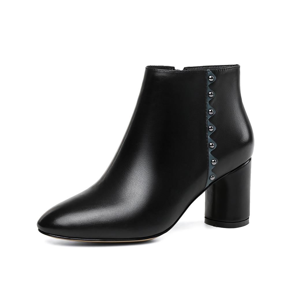 Cheville Talons Véritable Gros Chaussures Cuir Haute Vache noir 2018 Beige Bottes En Lapolaka Femmes Dame Naturel Femme Élégante wZ85tnq