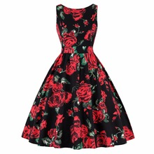Cheap Women Plus size 50s Retro Hepburn Style Whole-body Printing with Ice Creams Roses Slim Waist Flared Dress