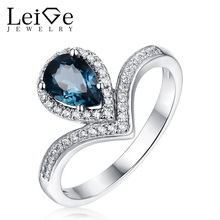 Leige Jewelry Silver London Blue Topaz Ring Gemstone Ring Pear Cut Women Wedding Engagement Promise Ring Christmas Gift for Her