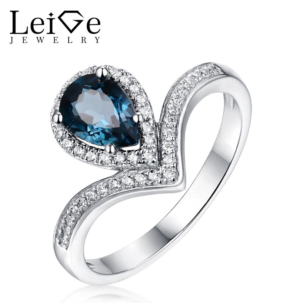 Leige Jewelry Silver London Blue Topaz Ring Gemstone Ring Pear Cut - Joyas