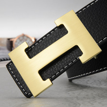 Luxury H Brand Designer Belts Men High Quality Male Casual Genuine Real Leather H Buckle Strap For Jeans Blue