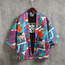 Summer Japanese Style Harajuku Men Loose Cotton Kimono Jacket Streetwear Coat