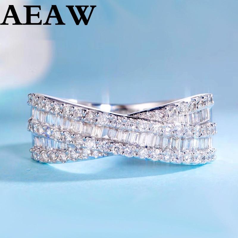 Solide 14K or 0.63ct diamant alliance bande ronde Baguette taille diamants demi éternité anniversaire anneau