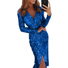 Long Sleeve Colorful Slim Sexy Sequin Split V Collar Dresses Woman Party Night Elegant Clothes