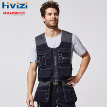 High Quality Men Outdoor Mechanic Workwear Vest Work Vests Multi-functional Vests With Tool Multi Pockets B208 цена и фото