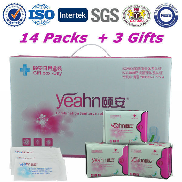 Yeahn Europe Standard Feminine Hygiene Products 100% Cotton Cover Anion Sanitary Napkin Women Feminine Pad Menstrual