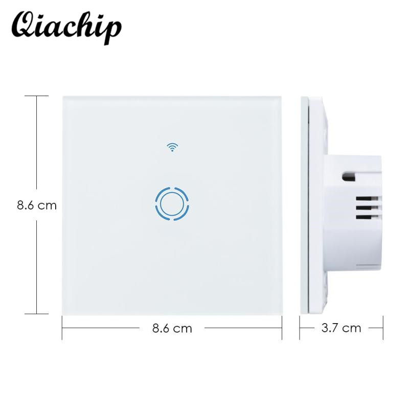 QIACHIP AC 220V 1 Gang 1 Way EU Plug Wall Waterproof Switch Panel Touch Switch Remote Control Smart Home Light Lamps LED Switch smart home us black 1 gang touch switch screen wireless remote control wall light touch switch control with crystal glass panel