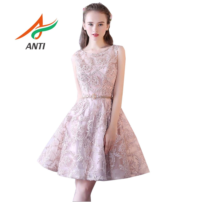 ANTI élégant rose robes de bal 2019 mode gala jurken court O cou Appliques illusion sans manches genou longueur vestidos de gala