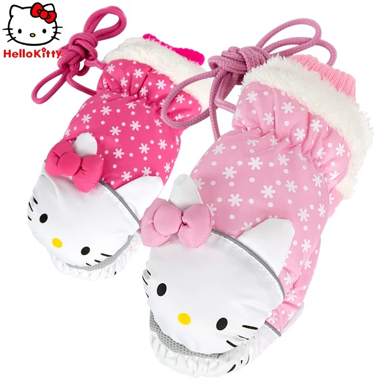 Temperate Children Kitty Cartoon Warm Lanyard Glove Outdoor Thick Cotton Cute Waterproof Mitten Girl Birthday Kid Gift 2 To 6 Years Old An Indispensable Sovereign Remedy For Home Mother & Kids
