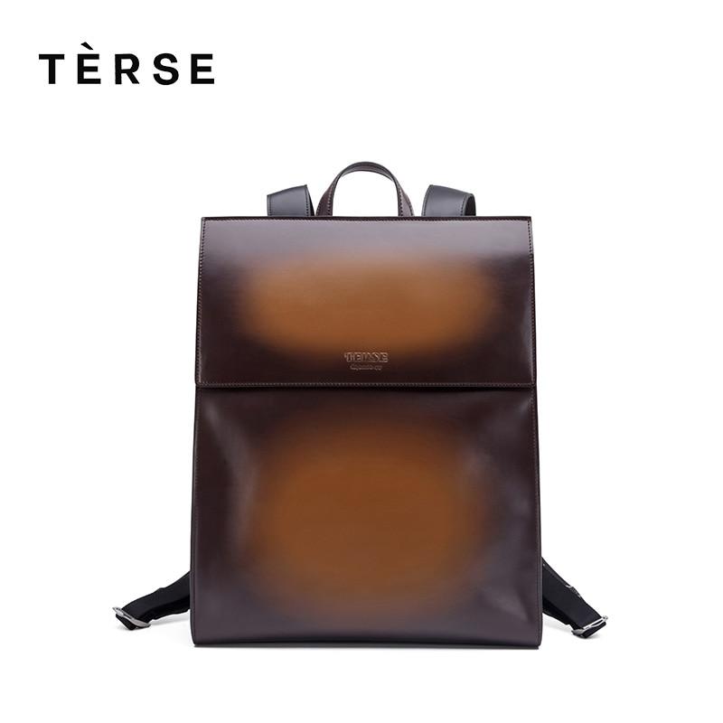 TERSE 2018 New Backpack Genuine Leather Bag For Men Fashion Style Back Bag Handmade Bag Pack Customize Logo 9586 Hot