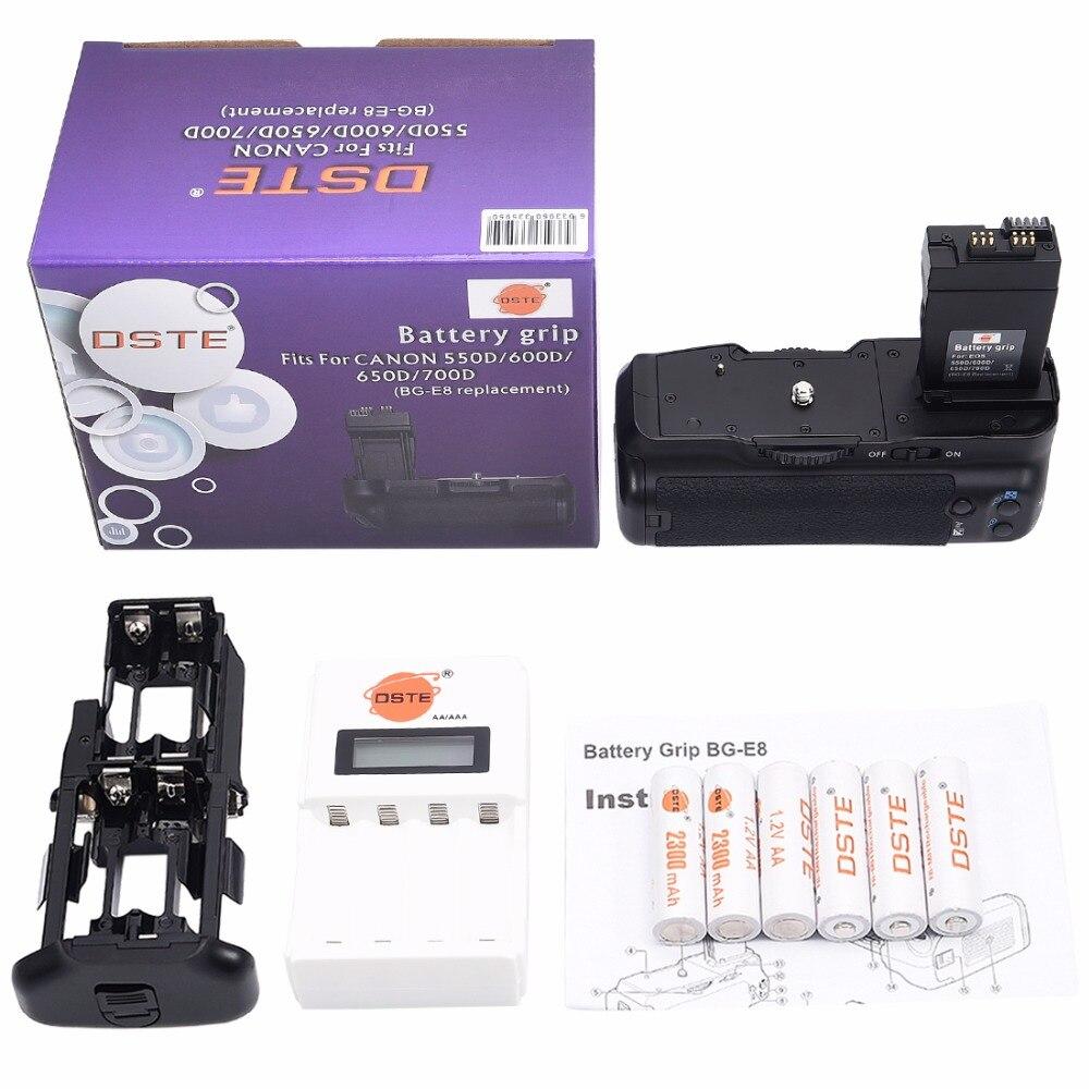 DSTE BG-E8 poignée de batterie + 6x Rechargeable NI-MH AA batterie + chargeur pour Canon 550D 600D 650D 700D rebelle T2i T3i T4i T5i caméra