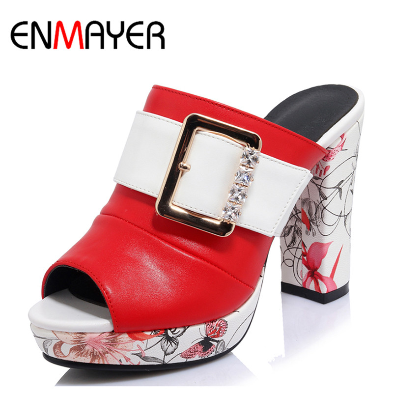 ENMAYER Sexy Red High Heels White Shoes Woman Peep Toe EVA Summer Sandals Plus Size 34-42 Party Shoes in Womens Sandals Shoe zorssar brand 2017 high quality sexy summer womens sandals peep toe high heels ladies wedding party shoes plus size 34 43