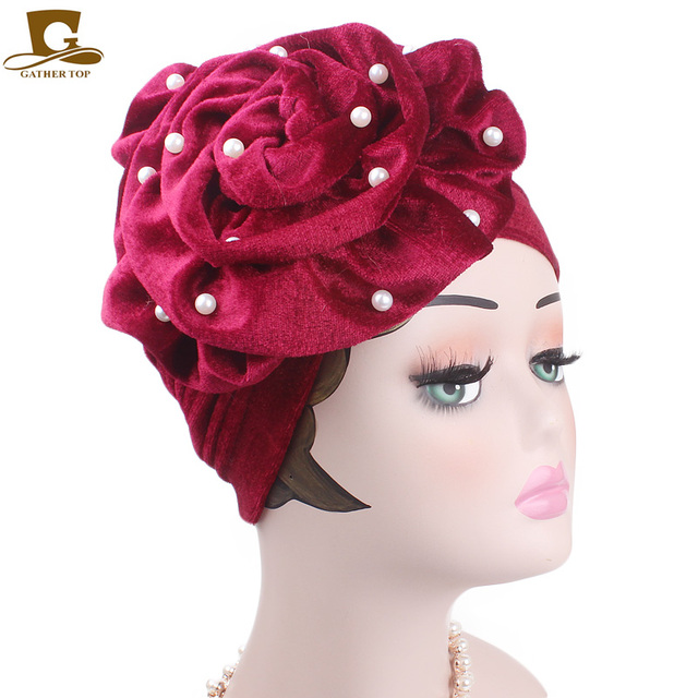 New beaded king flower velvet turban women headbands Bonnet Chemo Cap Muslim  Scarf Hijab Islamic Turbante hair accessories 3c9176a80fb2