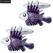 HAWSON Personalized Style Cufflinks Tropical Fish Bright Silver with Purple Cuff Links for French Cuffs/Shirts Gift for Men