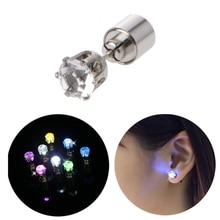 Shiny LED Color Change Stud Earring Light Up Flashing Blinking Earring