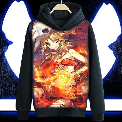 Fate//Apocrypha Mordred Zipper Hoodie Coat Jacket Plush Sweatshirt Cosplay Tops
