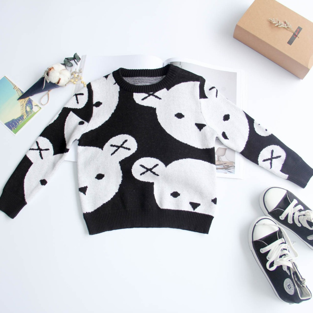 1-5Y-Kids-Cotton-Knitted-Black-White-Bear-Sweater-Pullovers-Baby-Girls-Boys-Clothes-Children-Cartoon-Tops-Outerwear-4