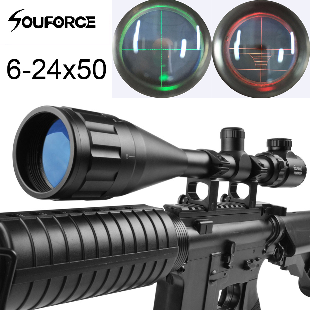 New Arrival 6-24X50AOEG Green Red Mil Dot / Rangefinder Reticle Tactical Riflescope For Hunting Rifle And Airsoft Scope Sight