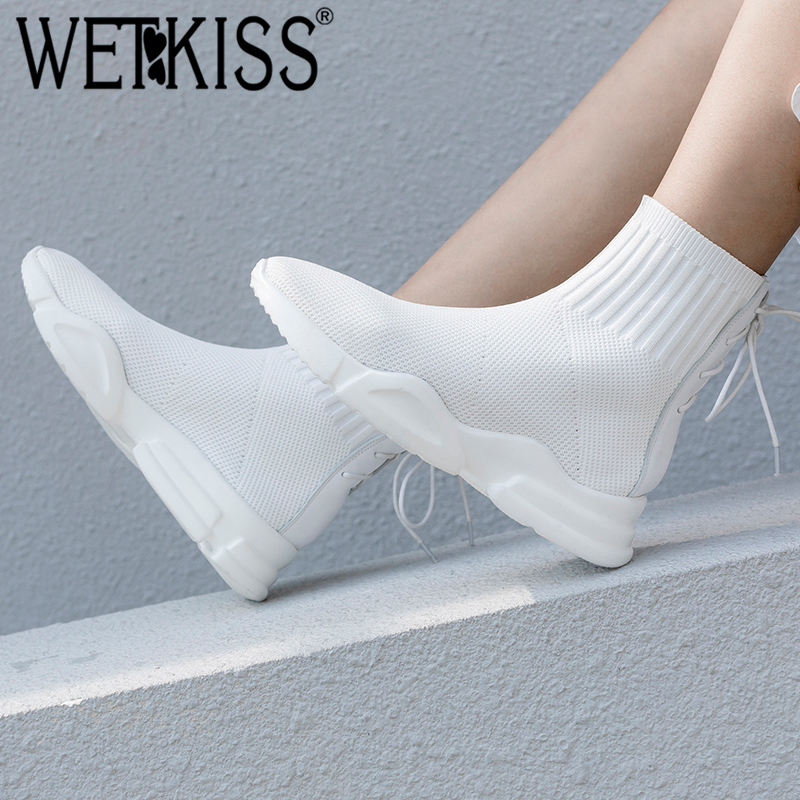 2018 Chaussette Tricoter Bout Casual Femme Automne blanc Femmes Botte Noir Stretch Plate Chaussures Wetkiss Croix Tied Rond À Boot forme Blanc qMUVSzpG