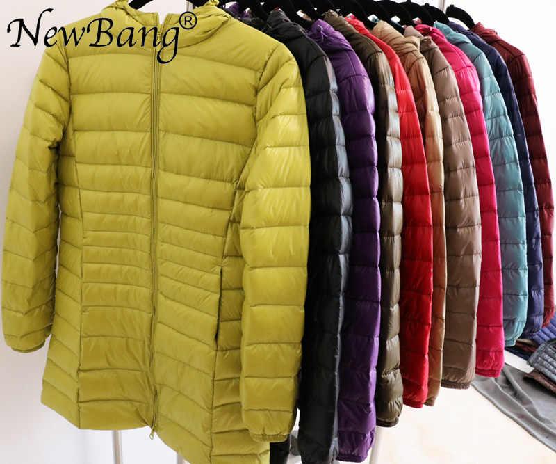 NewBang 8XL женское длинное теплое пуховое пальто с портативной сумкой для хранения женский ультра легкий пуховик женские пальто по бедрам
