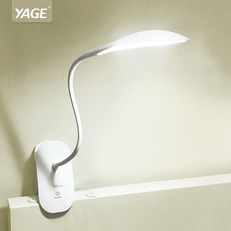 YAGE 5932 Desk Lamp LED reading Desk light 14 led table lamp clip led Touch on/off light Modern Foldable fixtures battery