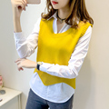 Women's Sweater Vest Pullover 2016 New Autumn and Winter Bat Cuff  Wave Fashion Sweater Ladies tops