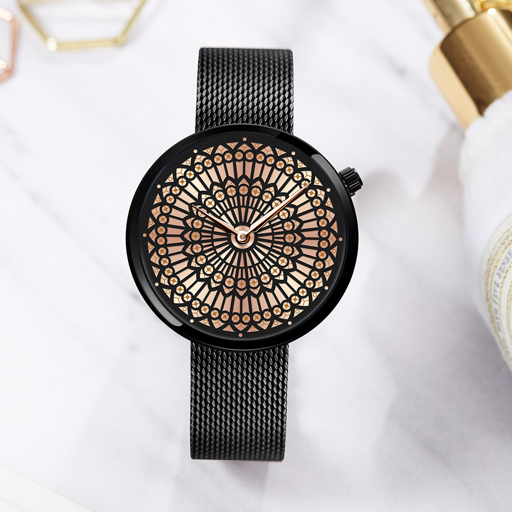 Shengke Luxury Brand Watch Women Fashion Dress Quartz Watch Ladies Full Steel Mesh Strap Waterproof Watches Relogio Feminino