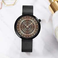 Shengke Luxus Marke Uhr Frauen Mode Kleid Quarzuhr Damen Voller Stahl Mesh-Armband Wasserdichte Uhren Relogio Feminino